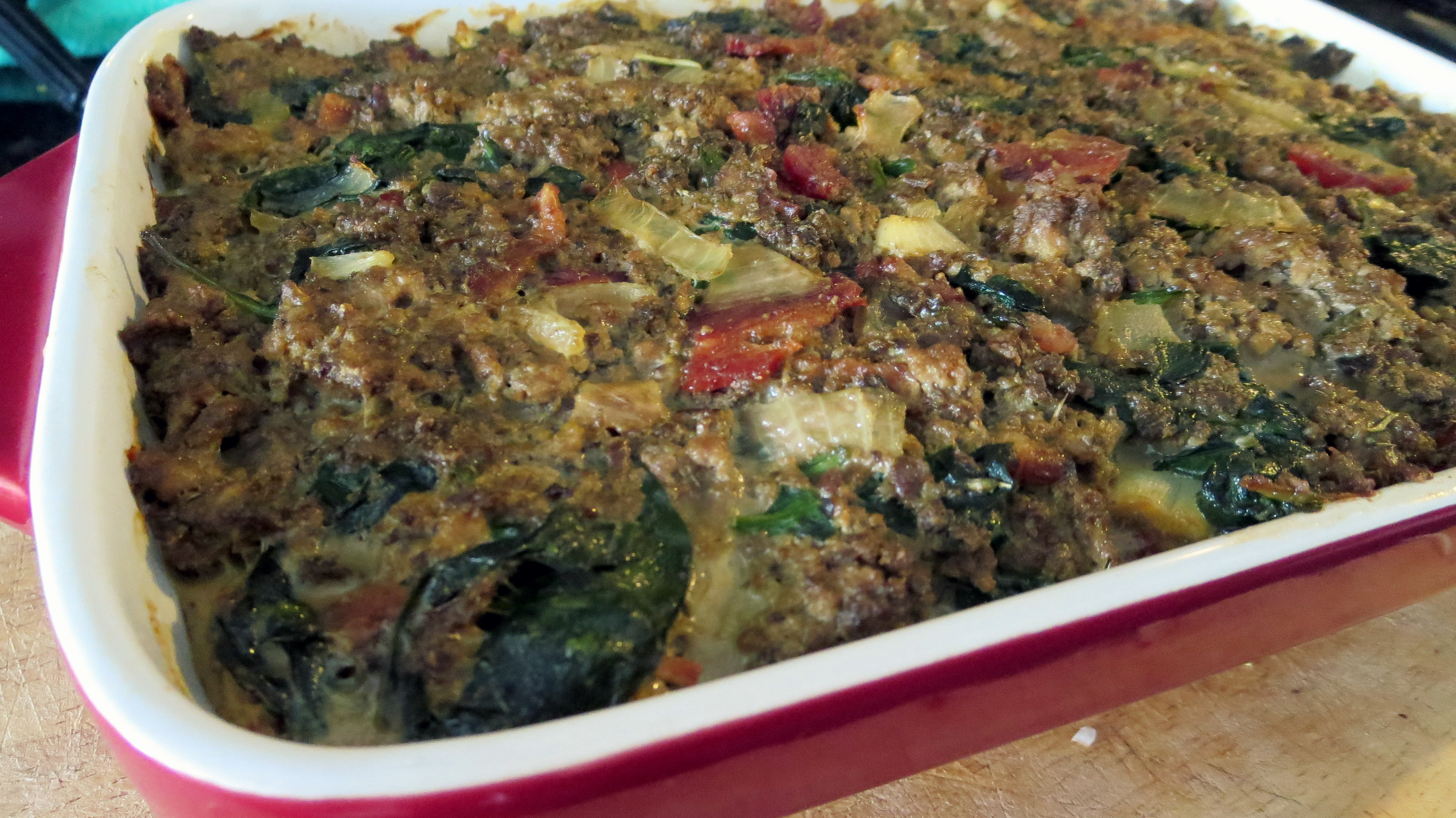 Popeye meatloaf right out of the oven