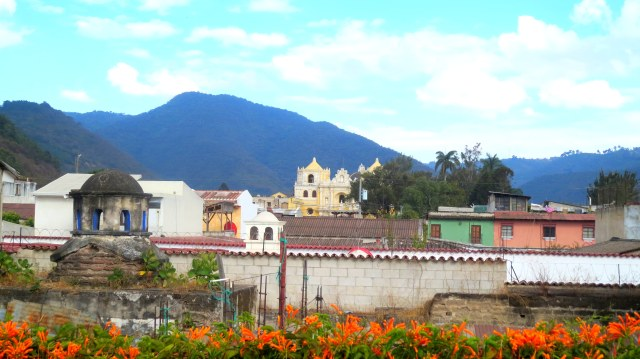 View of La Merced from my room at the Yellow House in Antigua