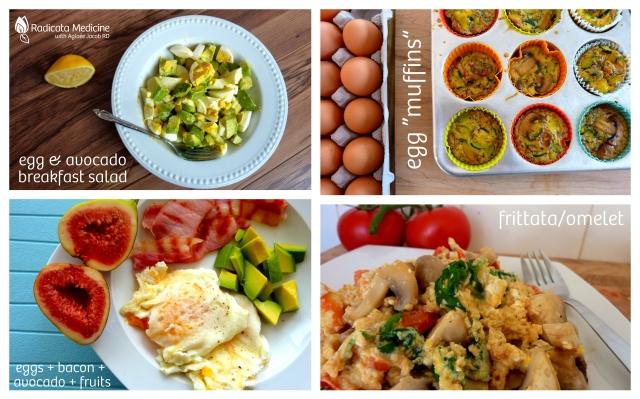 Typical egg-based Paleo breakfasts