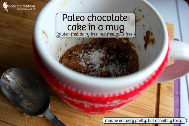 chocolate cake in a mug