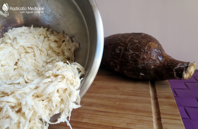 Just grate the yuca root. It looks like grated cheese. This is the only ingredient that will make your Paleo pizza crust.  Trust me, it sounds crazy but it works!